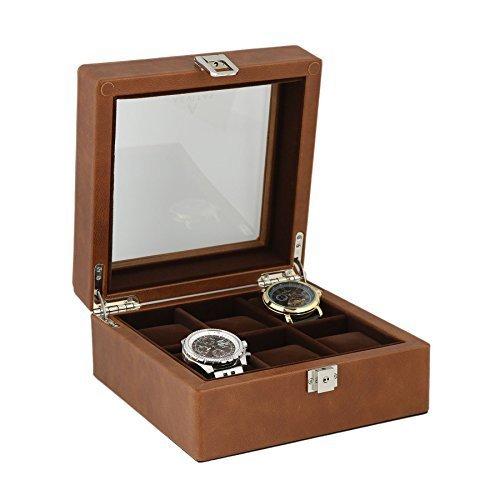 Braun aus echtem Leder Armbanduhr Sammler Box fuer 6Handgelenk Uhren von aevitas