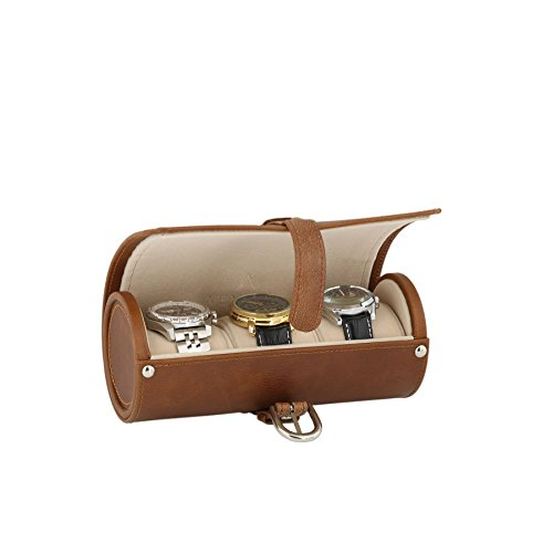 Echtes Leder Braun Armbanduhr Travel Rolle 3 Uhren beige samt Futter von aevitas