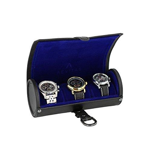 Echtes Schwarz Leder Armbanduhr Travel Rolle 3 Uhren Purple Velvet Lining by aevitas