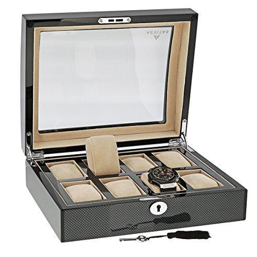 Hochwertige Uhr Sammler Box fuer 8Uhren mit Kohlefaser Furnier von aevitas
