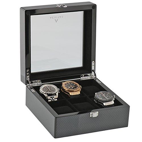 Kohlenstoff Faser Uhr Collectors Box fuer 6 Armbanduhren von Aevitas