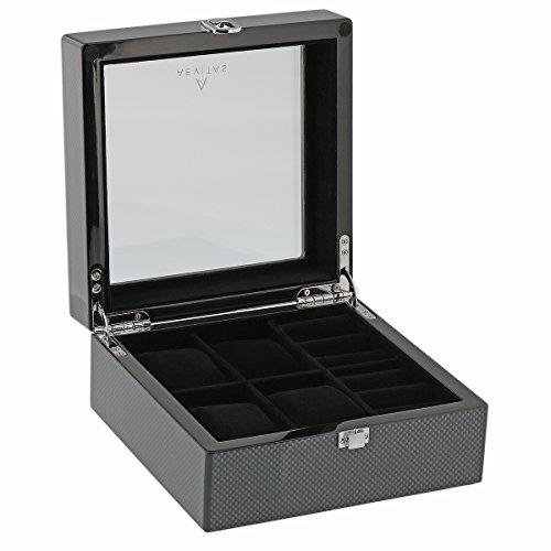 Kohlenstoff Faser Uhr und Manschettenknopf Collectors Box fuer 4 Armbanduhren plus 4 Paare Manschettenknopf durch Aevitas
