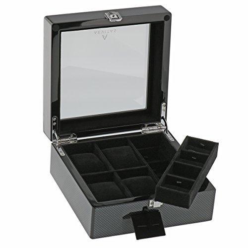 Kohlenstoff Faser Uhr und Manschettenknopf Collectors Box fuer 4 Armbanduhren plus 8 Paare Manschettenknopf durch Aevitas
