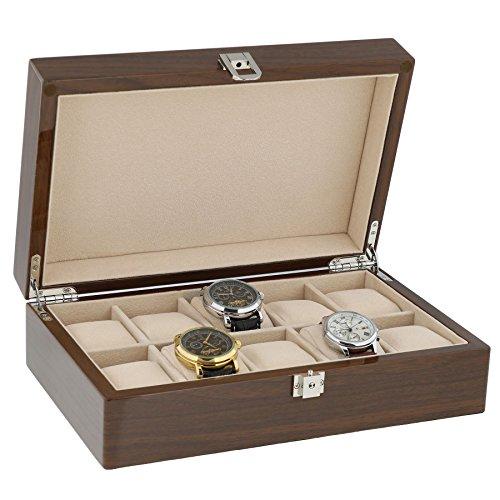 Lackiert Nussbaum Armbanduhr Sammler Box fuer 10 Handgelenk Uhren von aevitas