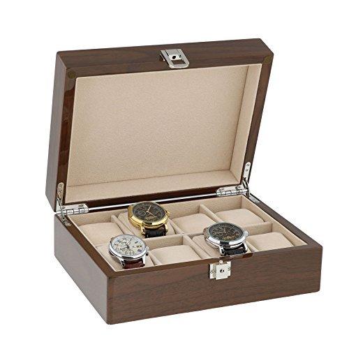 Lackiert Nussbaum Armbanduhr Sammler Box fuer 8 Handgelenk Uhren von aevitas