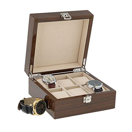 Lackiert Nussbaum Armbanduhr Sammler Box fuer 6 Handgelenk Uhren von aevitas