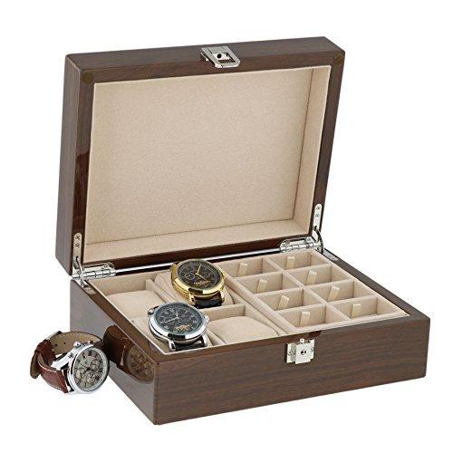 Lackiert Walnuss Uhr Sammler Kiste fuer 4 Armbanduhren und 16 Paare von Cuffliks by Aevitas