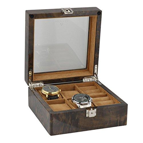 4 Paar Manschettenknoepfe und 4 teiliges Uhren Sammler Box in dunklen Wurzelholz von aevitas