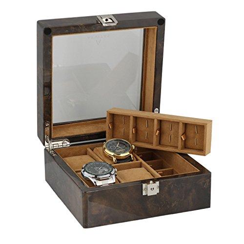 8 Paar Manschettenknoepfe und 4 teiliges Uhren Sammler Box in dunklen Wurzelholz von aevitas
