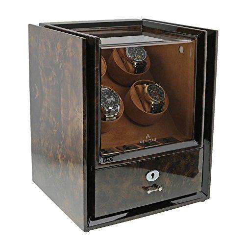 Quad Uhrenbeweger mit Speicher im dunklen Knorren Holz Magnum Sammlung von Aevitas