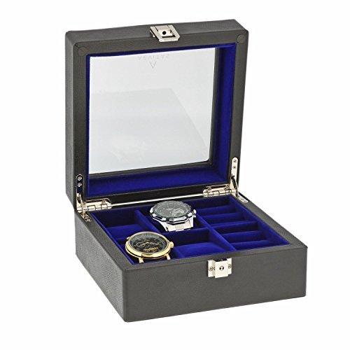 Schwarz Echt Leder 4Armbanduhr 6Paar Manschettenknoepfe Sammler Box Lila Samt Futter von aevitas