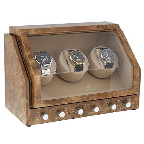 Triple Uhrenbeweger in Wurzelholz hell PREMIER Reihe von aevitas