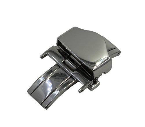 22mm poliert Edelstahl Verschluss Schmetterling Faltschliesse und Sicherheitsdruecker Mechanismus