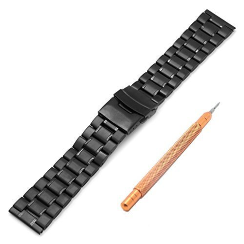 Ritche 22 mm Metall Edelstahl Armband Uhrenarmband massiv Links Interlock Sicherheit Schliesse Farbe Schwarz