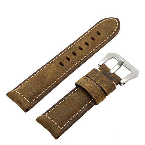 Ritche 24 mm KALB LEDER gepolstert Vintage Armbanduhr Band gebuerstet Tang Schnalle fuer herren