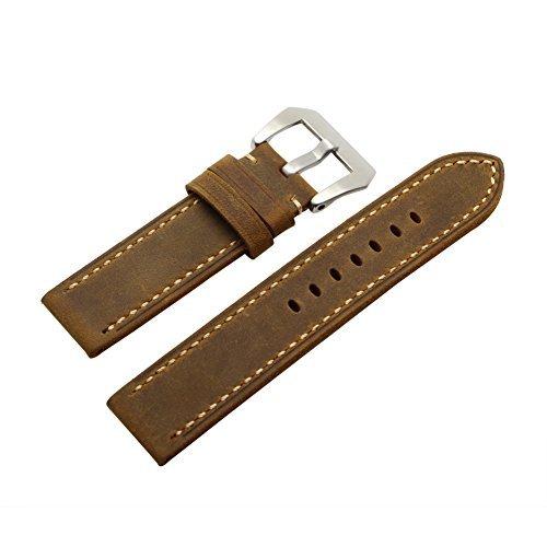 Ritche 22 mm KALB LEDER gepolstert Vintage Armbanduhr Band gebuerstet Tang Schnalle fuer herren