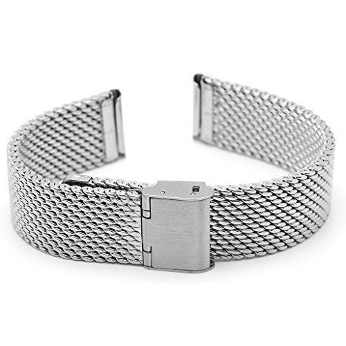 Ritche Uhrenarmband 18 mm Mesh Armband Edelstahl Armbanduhr Band Gurt Schliesse Silber
