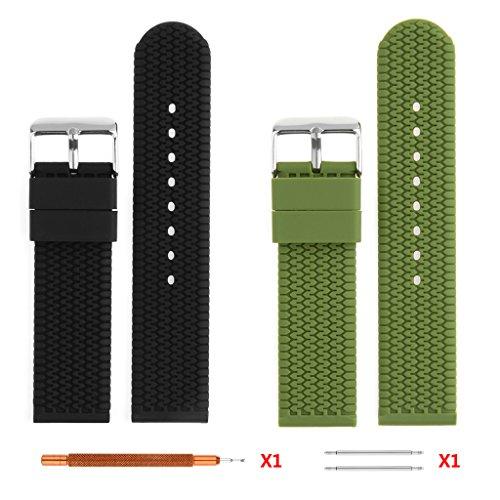 22 mm Silikon Armbanduhr BANDS 2pc Ritche schwarz Armee Gruen Weiche Silikon Riemen