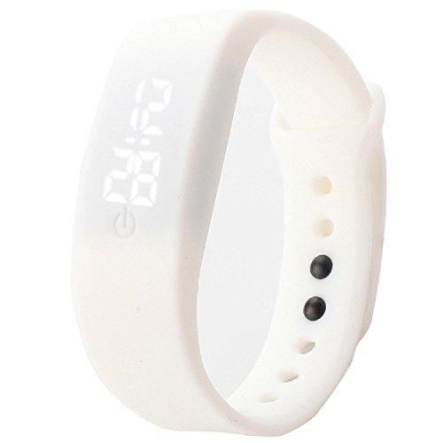 Yogogo Damen Herren Gummi LED Uhr Datum Sport Armband Weiss