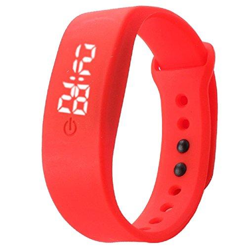 Yogogo Damen Herren Gummi LED Uhr Datum Sport Armband Rot