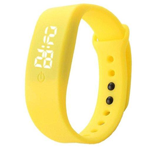 Yogogo Damen Herren Gummi LED Uhr Datum Sport Armband Gelb