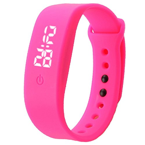 Yogogo Damen Herren Gummi LED Uhr Datum Sport Armband Hot Pink