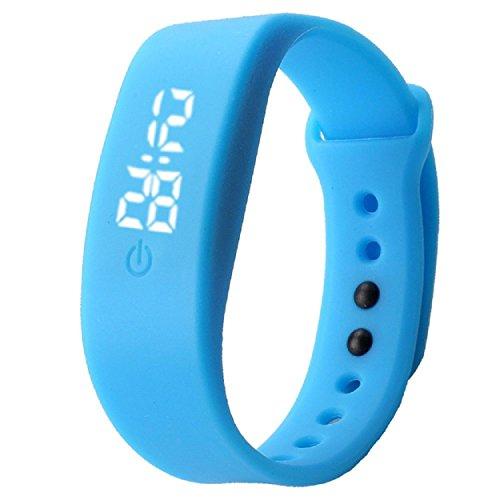 Yogogo Damen Herren Gummi LED Uhr Datum Sport Armband Blau