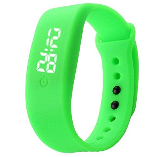 Yogogo Damen Herren Gummi LED Uhr Datum Sport Armband Gruen