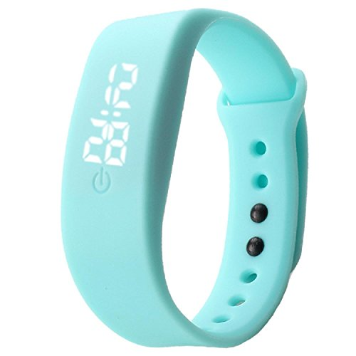 Yogogo Damen Herren Gummi LED Uhr Datum Sport Armband Himmelblau