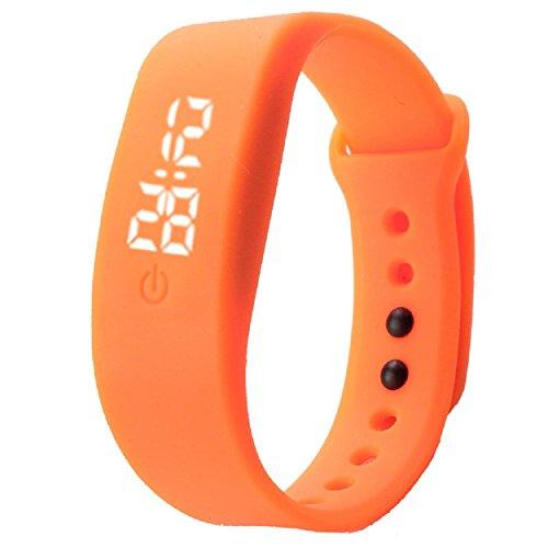 Yogogo Damen Herren Gummi LED Uhr Datum Sport Armband Orange