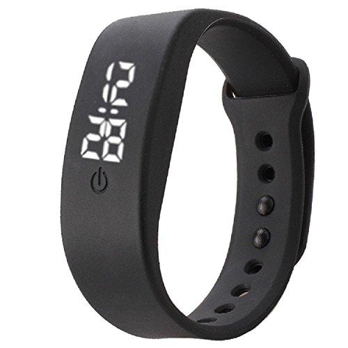 Yogogo Damen Herren Gummi LED Uhr Datum Sport Armband Schwarz
