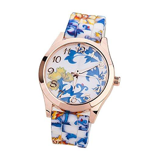 Yogogo Frauen Maedchen Uhr Silikon gedruckte Blumen verursachende en Blau