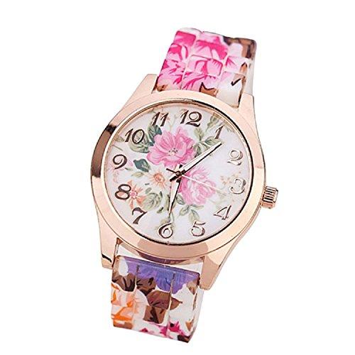 Yogogo Frauen Maedchen Uhr Silikon gedruckte Blumen verursachende en Hot Pink
