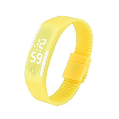 Yogogo Frauen der Maenner Gummi LED Uhr Datum Sports Armband F
