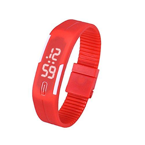 Yogogo Frauen der Maenner Gummi LED Uhr Datum Sports Armband K