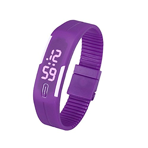 Yogogo Frauen der Maenner Gummi LED Uhr Datum Sports Armband G
