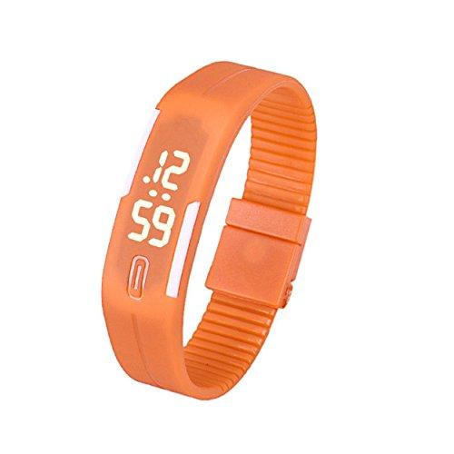 Yogogo Frauen der Maenner Gummi LED Uhr Datum Sports Armband D