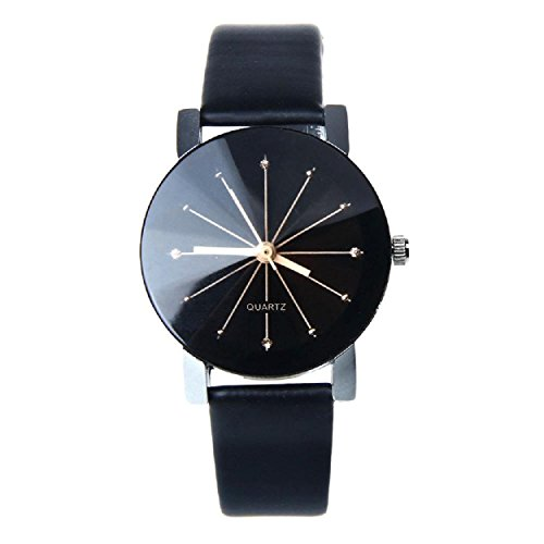 Yogogo Frauen Quarz Dial Uhr Leder Armbanduhr runde Gehaeuse