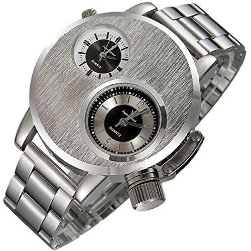 Yogogo Neue Mens Edelstahl Datum Militaersport Quarz analoge Armbanduhr