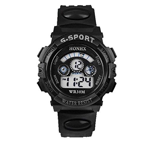 Yogogo Wasserdichte Kinder Junge Digital LED Quarz Alarm Date Sport Armbanduhr Schwarz