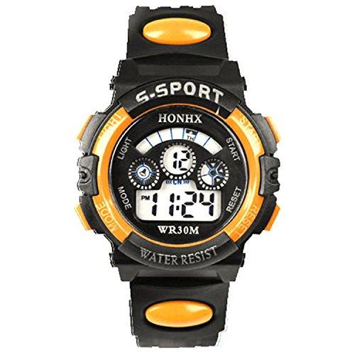 Yogogo Wasserdichte Kinder Junge Digital LED Quarz Alarm Date Sport Armbanduhr Orange