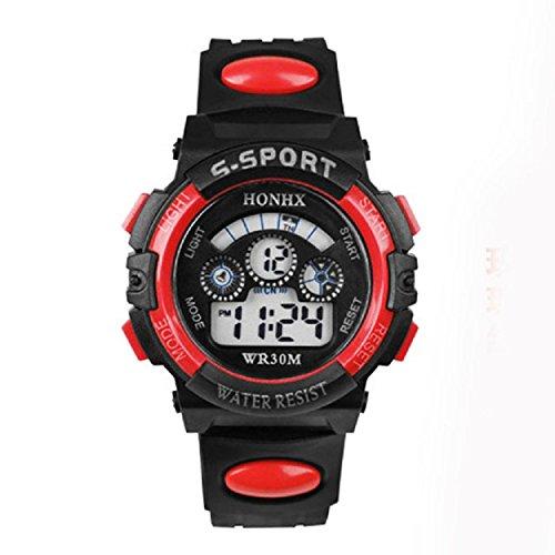 Yogogo Wasserdichte Kinder Junge Digital LED Quarz Alarm Date Sport Armbanduhr Rot