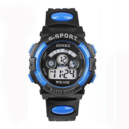 Yogogo Wasserdichte Kinder Junge Digital LED Quarz Alarm Date Sport Armbanduhr