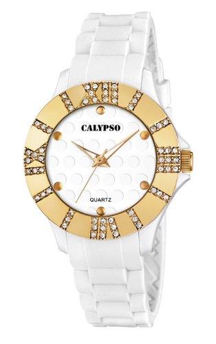 Calypso by Festina Armbanduhr Analoguhr 5 ATM mit Zirkonia K5649 Farbe weiss gelbgold