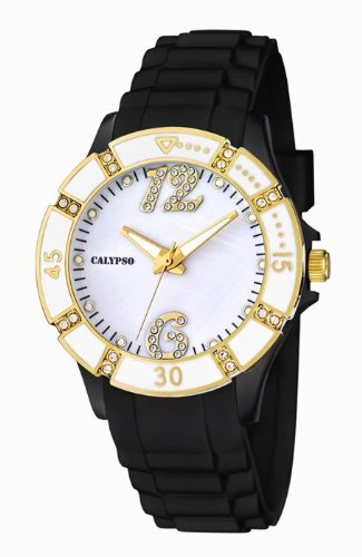 Calypso by Festina Armbanduhr Analoguhr 5 ATM mit Zirkonia K5650 Farbe schwarz weiss gelbgold