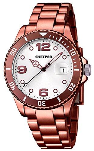 Calypso Armbanduhr Quarzuhr Kunststoffuhr mit Kunststoffband mit Faltschliesseanalog K5646 Farben braun silber