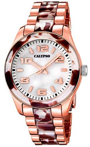 Calypso Damenarmbanduhr Quarzuhr Kunststoffuhr mit Kunststoffband mit Faltschliesse analog K5648 Farben rose meliert