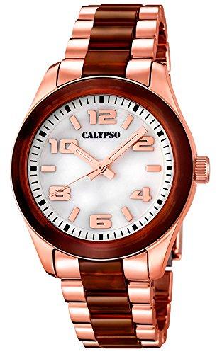 Calypso Damenarmbanduhr Quarzuhr Kunststoffuhr mit Kunststoffband mit Faltschliesse analog K5648 Farben rose braun
