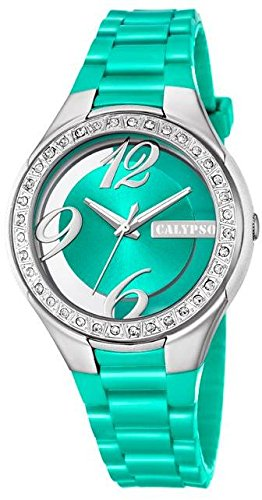 Calypso Damenarmbanduhr Quarzuhr Kunststoffuhr mit Polyurethanband und Glitzersteinchen analog K5679 Farben gruen