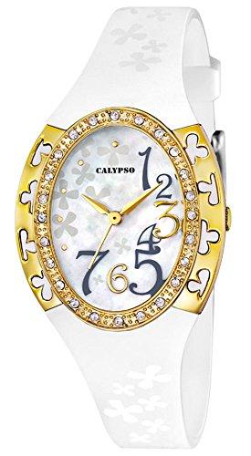 Calypso Damenarmbanduhr Quarzuhr Kunststoffuhr mit Polyurethanband und Glitzersteinchen analog K5642 Farben weiss gelbgold